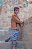 A yemeni child in Thula, fortified city, village, cistern, stairs, Republic of Yemen, daily life Stock Images