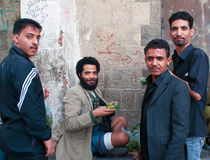 Yemeni men selling qat, khat, green gold, plant, drug, leaf chewing,  in the salt market, Old City, Sana'a, suq, Yemen, daily life Royalty Free Stock Images