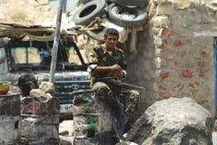 Yemeni military on duty at the security checkpoint, Hadramaut valley, Yemen. Stock Photo