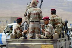 Yemeni military on duty at the security checkpoint, Hadramaut valley, Yemen. Stock Photography