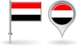 Yemeni pin icon and map pointer flag. Vector Royalty Free Stock Photo