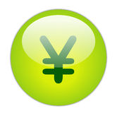 Yen. The Glassy Green Yen Icon Button Royalty Free Stock Photo