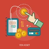 Yen Asset Conceptual Design. Great flat illustration concept icon and use for currencies, payment, business and much more Stock Image