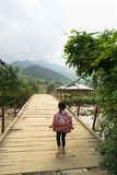 Yen Bai, Vietnam - Sep 18, 2016: Vietnamese Hmong ethnic minority girl walking home on old small chain wooden bridge from school w Royalty Free Stock Photography