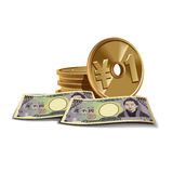 Yen banknotes and coins  illustration, finan Stock Image