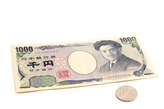 1100 Yen, 10% belastingstarief op Japanse munt Royalty-vrije Stock Foto's