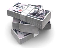 Yen Bills Packs (with clipping path) Stock Photo