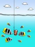 Yen cash on fishing hook. With fish enclose Stock Image