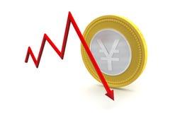 Yen Coin con abajo tiende Fotografía de archivo