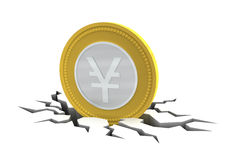 Yen Coin on Cracked Ground Royalty Free Stock Photos