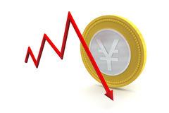Yen Coin with Down Trend Stock Photography