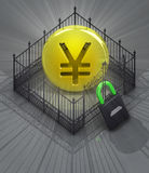 Yen coin in padlock closed fence concept Stock Image