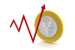 Yen Coin with Up Trend Stock Images