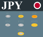 Yen coins set. Isometric design illustration. Yen coins set isolated on background. Abstract illustration Stock Images