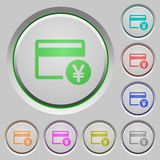 Yen credit card push buttons. Yen credit card color icons on sunk push buttons Stock Photo