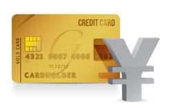 Yen credit card concept illustration. Design over white Stock Image