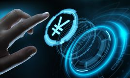 Yen Currency Business Banking Finance-Technologie-Konzept stockfotos