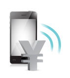 Yen currency management on a mobile phone Stock Image