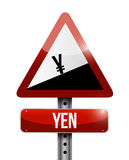 Yen currency price falling warning sign. Illustration design over white Royalty Free Stock Photos