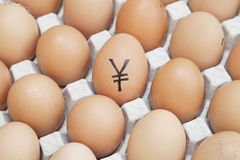 Yen currency sign on egg surrounded by plain brown eggs in carton Stock Images