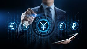 Yen currency sign icon on virtual screen. Forex trading business technology concept. royalty free stock photos