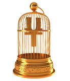 Yen currency symbol in golden birdcage. Isolated over white Stock Photography