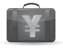 Yen currency symbol suitcase illustration. Design over white Stock Photos