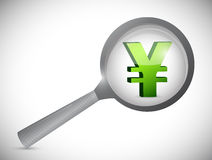 Yen currency symbol under review. Illustration design over white Stock Photography
