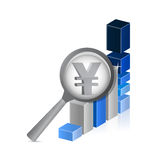 Yen currency under review. successful graph Stock Images
