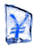 YEN del segno congelati nel ghiaccio Immagini Stock