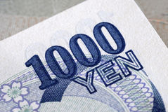 Japan, Japanese money, Yen 1000 bill detail close up Royalty Free Stock Photo
