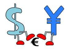 Yen dollar crushing euro. An illustration of dollar, yen and euro Royalty Free Stock Photography