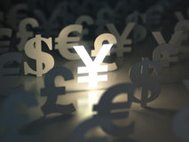 Yen, dollar, euro, and pound  signs. Currency exchange concept. Stock Image