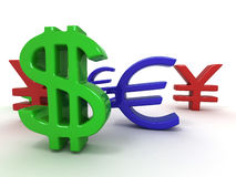 Yen, dollar, euro. Signs Royalty Free Stock Photo