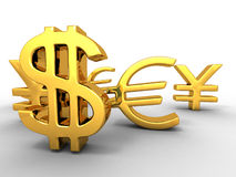 Yen, dollar, euro. Signs Stock Photography
