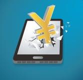 Yen Dollar-pictogram het Breken door de vector van het schermsmartphone Royalty-vrije Stock Afbeeldingen