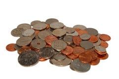 Yen-Dollar-Ringgit-Münzen Lizenzfreie Stockfotos