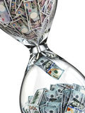Yen dollar stock exchange concept. Sandglass and banknotes. Stock Photo
