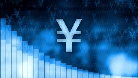 Yen dropping, descending graph background, world crisis, stock market crash. Stock footage Royalty Free Stock Images