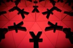 Yen eller Yuan Currency Symbol With Many som avspeglar bilder arkivbild