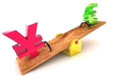 Yen/euro di Stong Immagini Stock Libere da Diritti