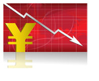 Yen Exchange / Vector. Business worries with Yen losing graph. vector file available Stock Image