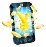 yen för begreppspengartelefon Royaltyfri Foto