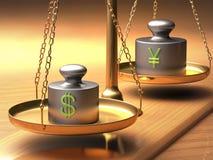 Yen för dollar x Arkivfoton