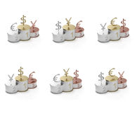 yen för symboler för dollareurosockel Fotografering för Bildbyråer