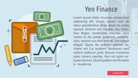 Yen Finance Conceptual Banner Imagenes de archivo