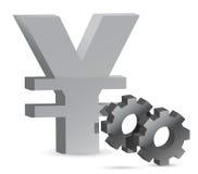 Yen gears illustration Royalty Free Stock Photos