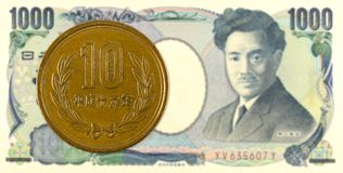 10 Yen giapponesi coniano contro una banconota da 1000 Yen giapponesi Fotografia Stock