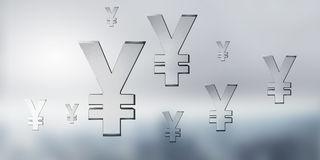 Yen glass sign. Background conceptual image with yen currency icons Stock Photo