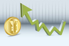 Yen is going up Stock Photo